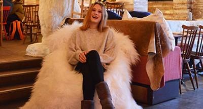 Moumoute vintage fur pouf